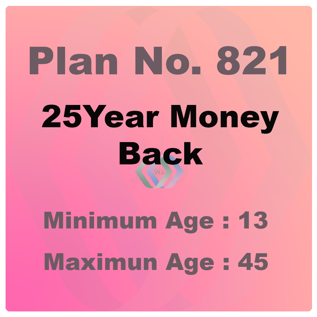 New Money Back 25Years Plan (Plan No. 821)