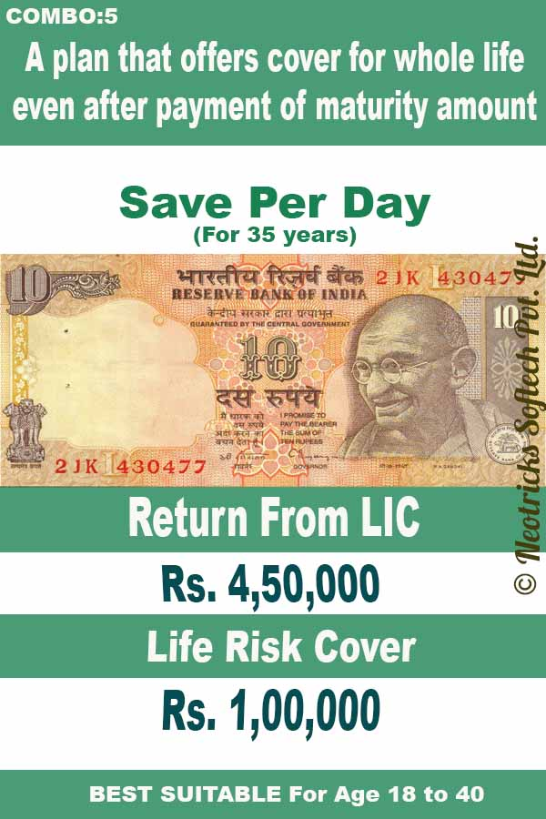 Save Rs. 10 Per Day and Get 4,50,000 and 1 lakh Rs life time risk cover.
